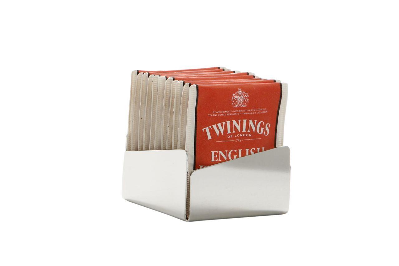 Porta bustine da tè e zucchero acciaio argentato argento sheffield cm.6x6