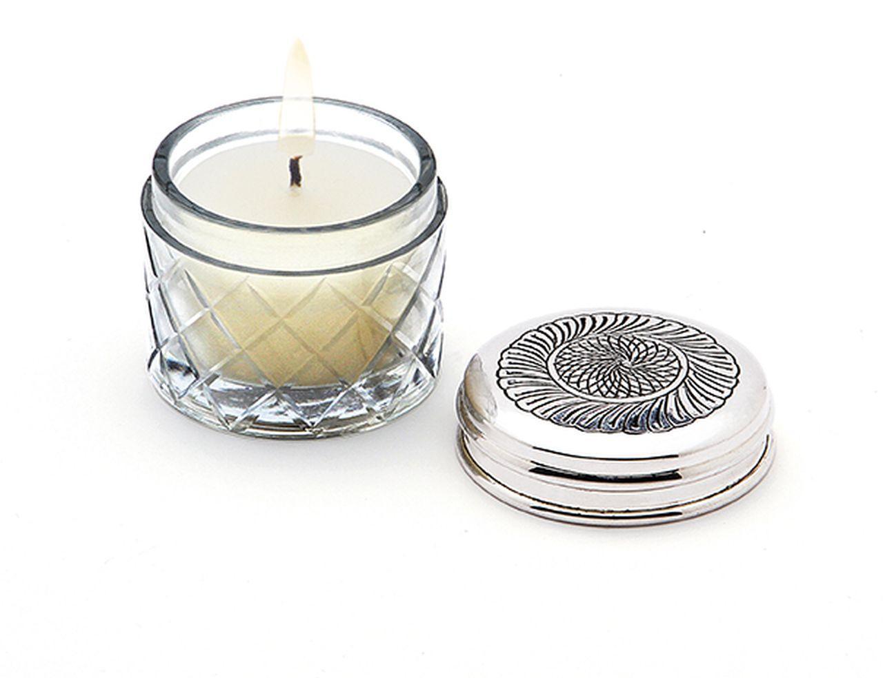 Porta candela stile cesellato argentato argento sheffield