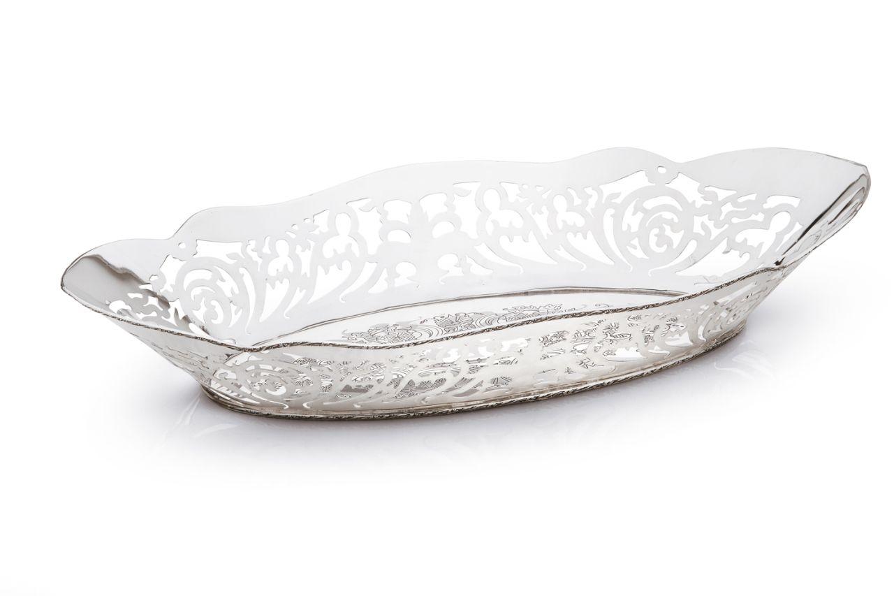 Cestino ovale stile traforato argentato argento sheffield cm.35x19