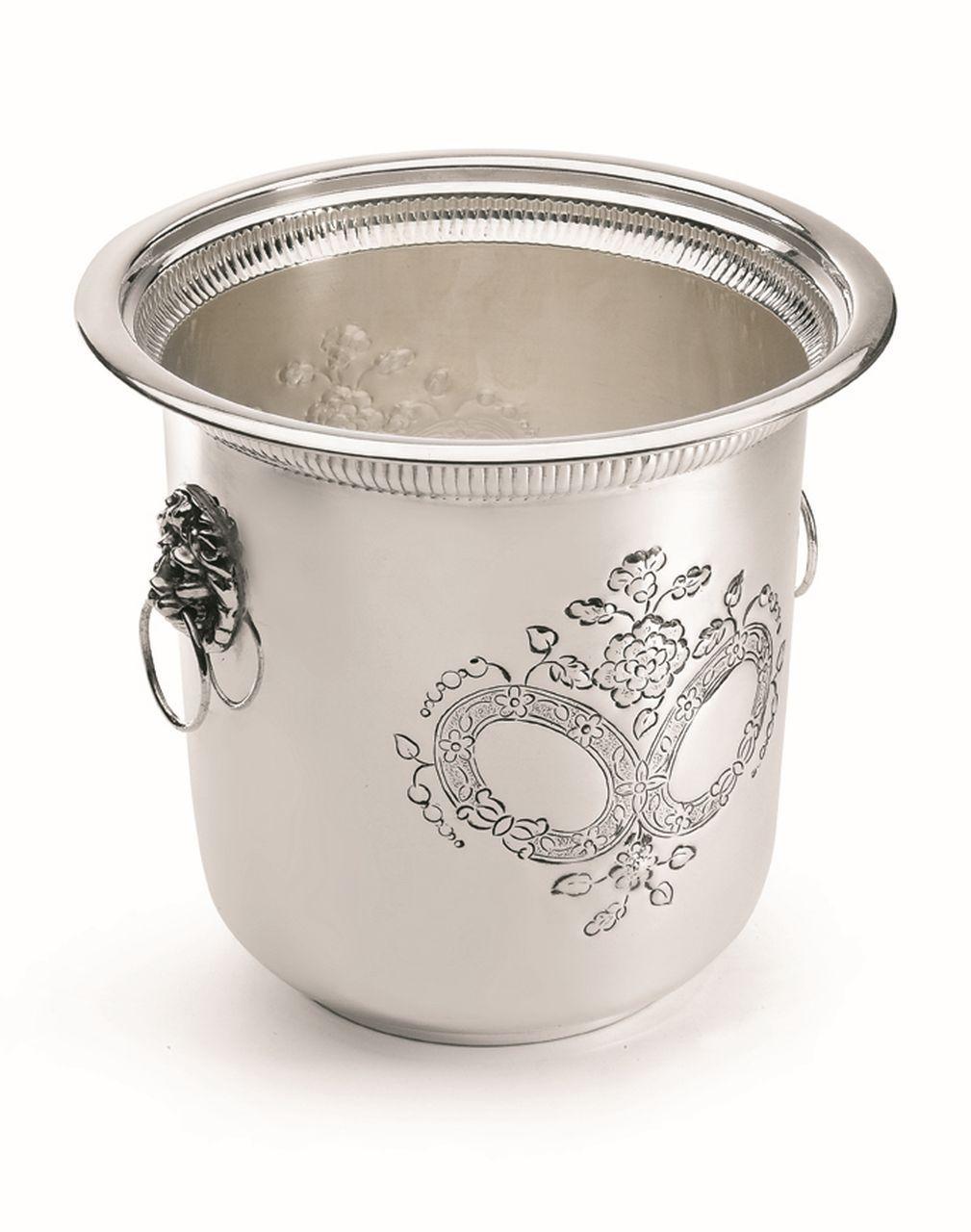Secchiello champagne stile inciso argentato argento sheffield cm.22h diam.24
