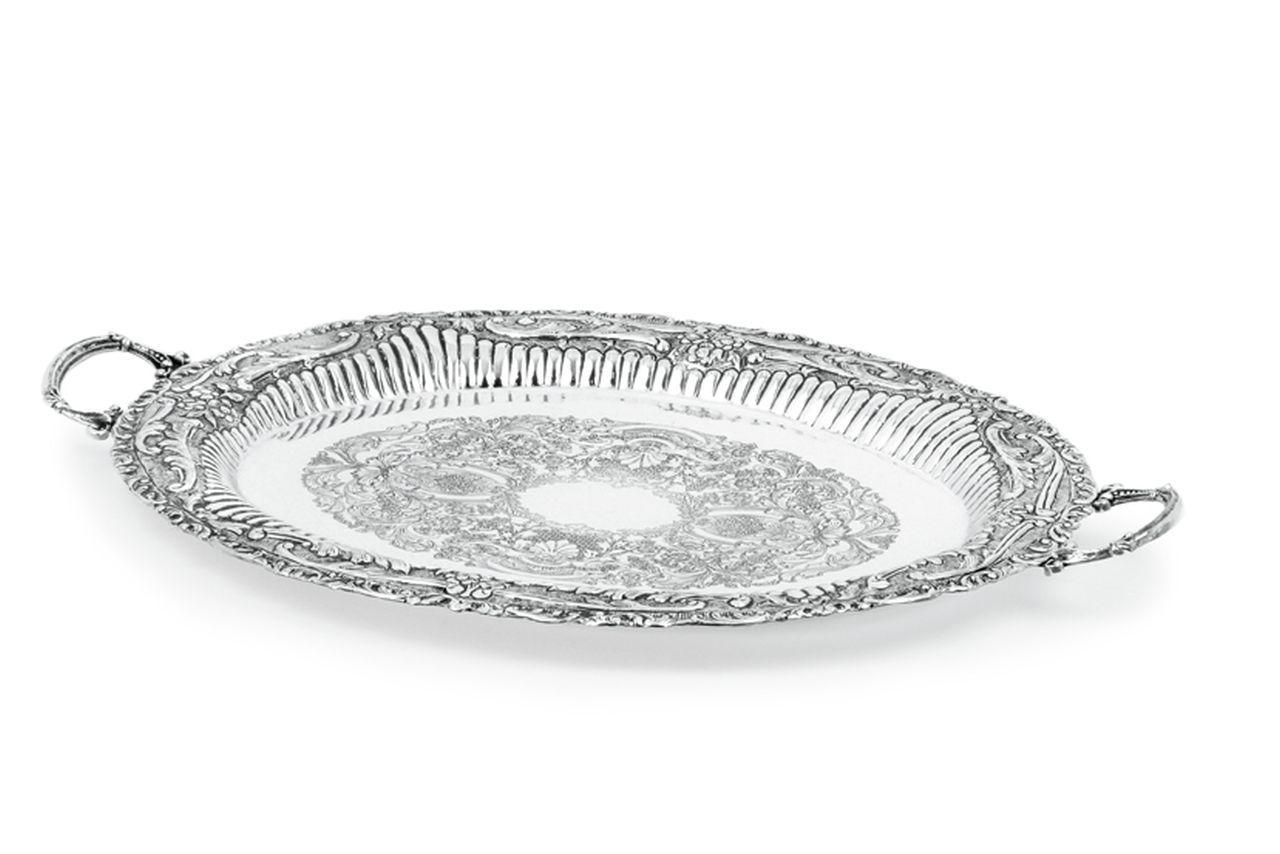 Vassoio ovale con manici argentato argento sheffield stile cesellato cm.50x40
