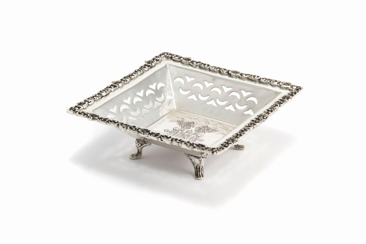 Cestino quadrato argentato argento sheffield stile traforato