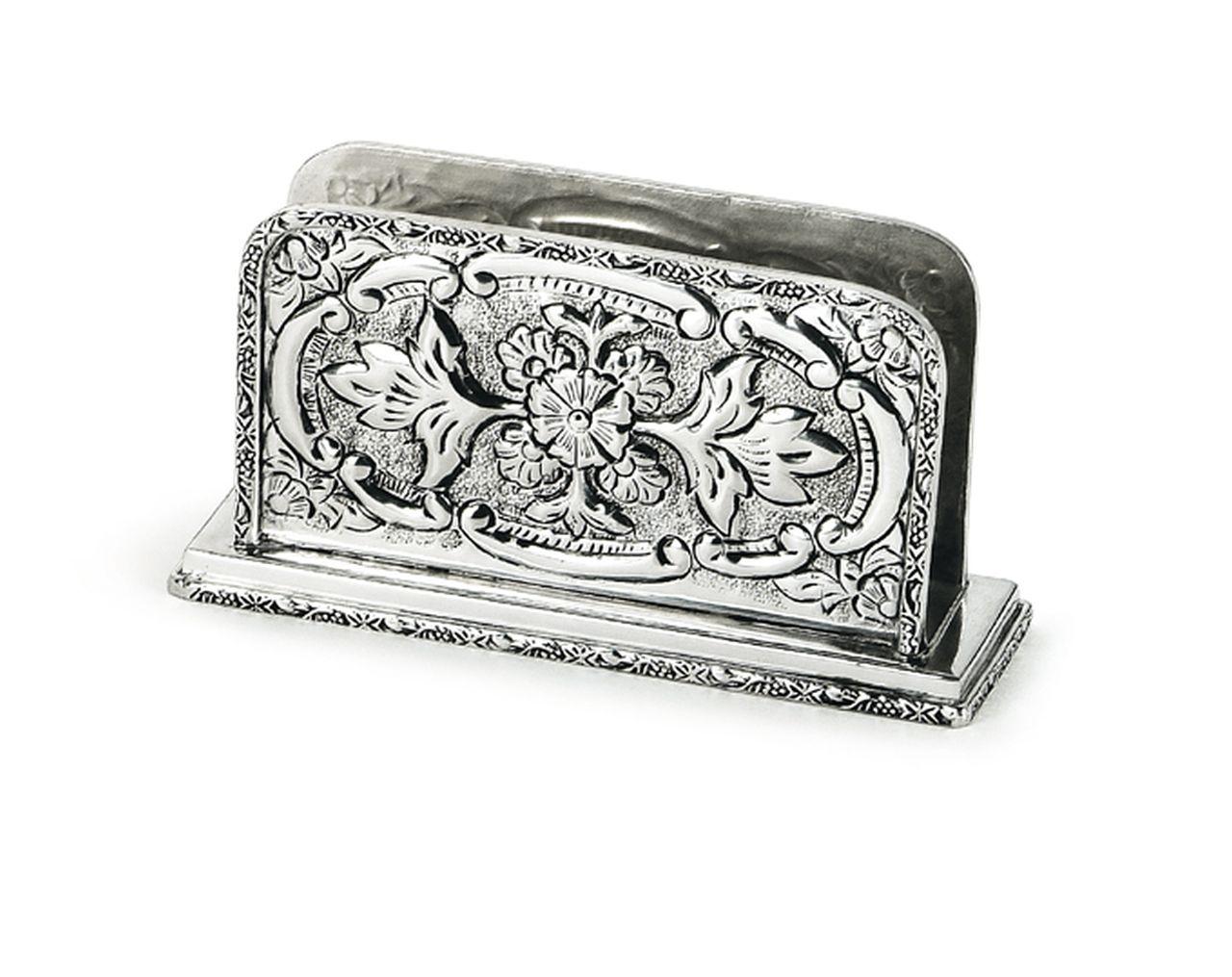 Portalettere argentato argento sheffield stile cesellato cm.16x4,5x10h