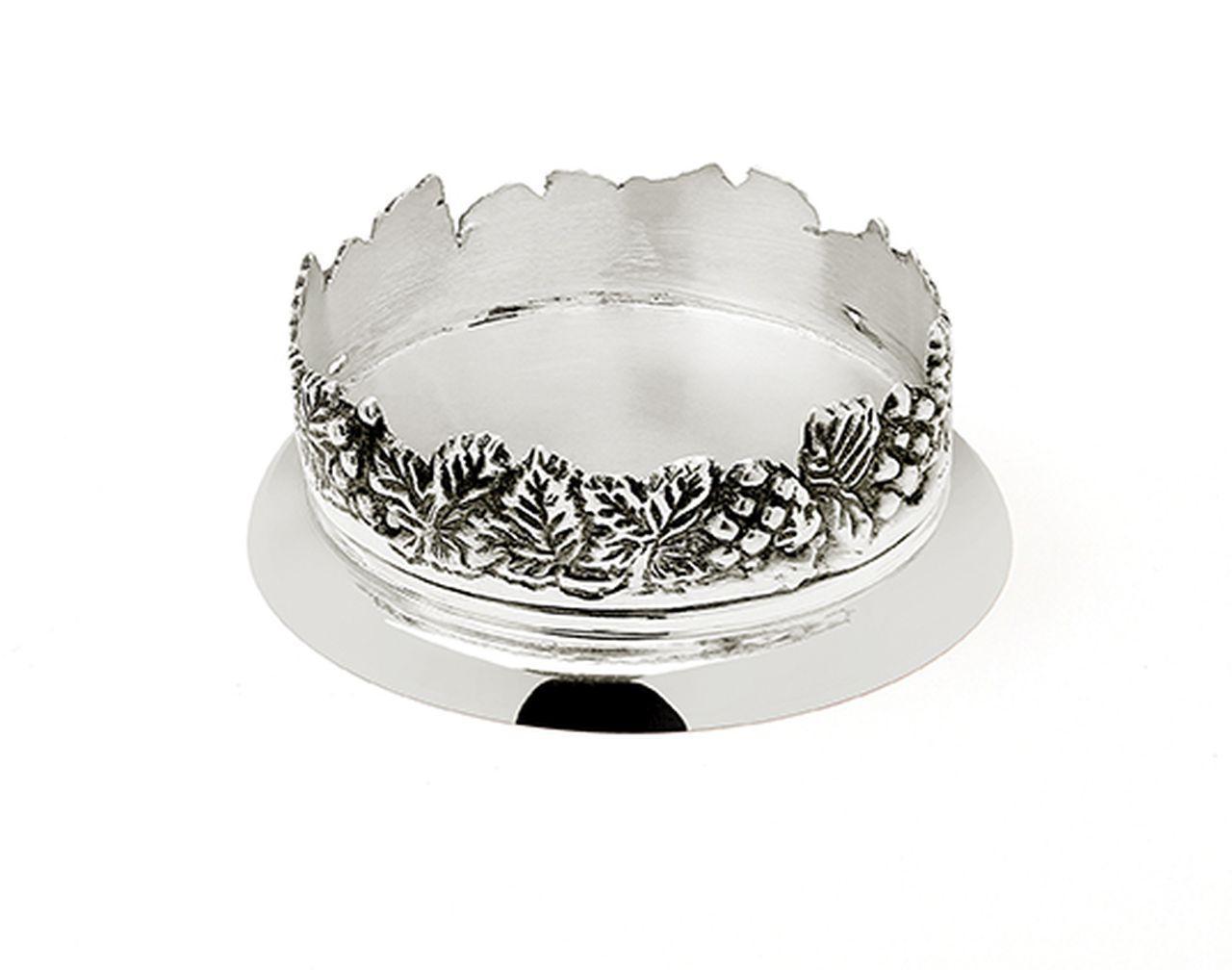 Sottobottiglia argentato argento sheffield stile grappe cm.4h diam.14