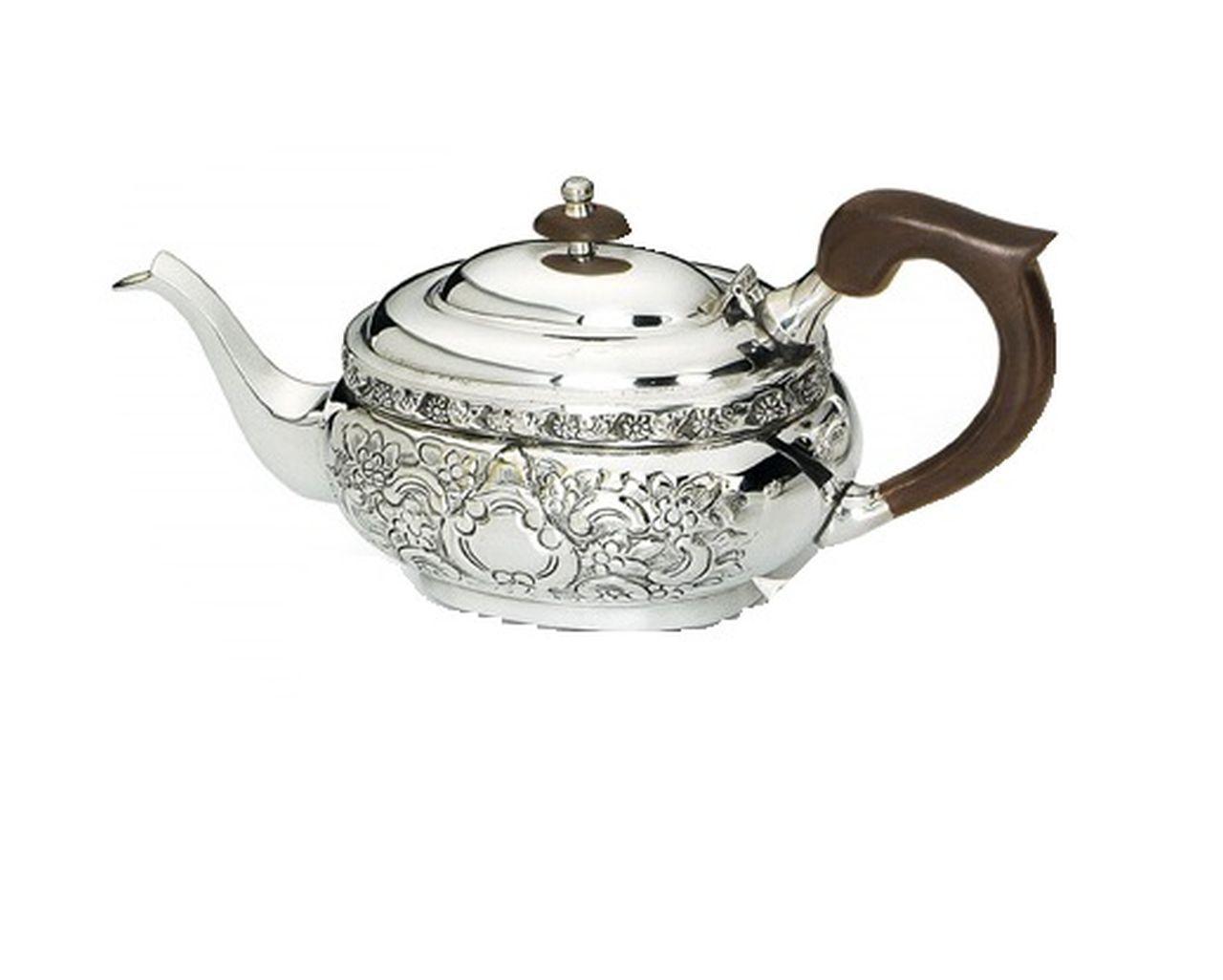 Teiera argentato argento sheffield stile cesellato
