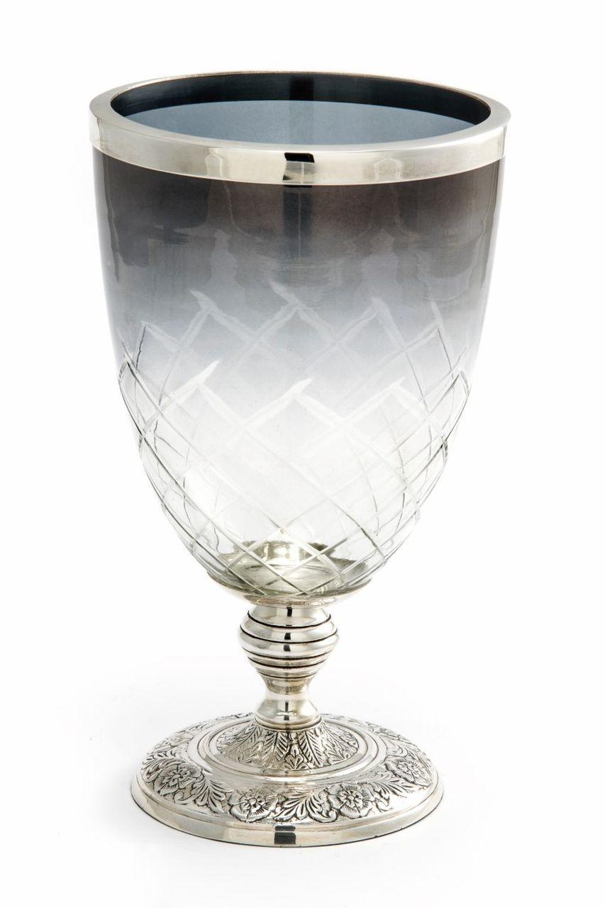Vaso in vetro con base argentato argento sheffield cm.28h diam.16