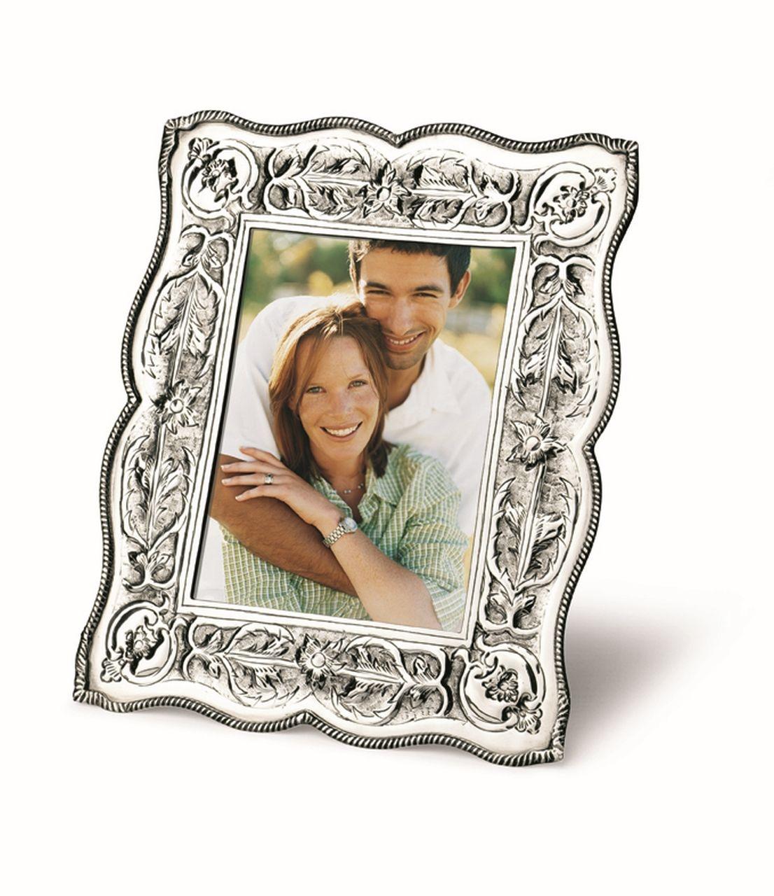 Cornice portafoto argentato argento sheffield stile cesellato