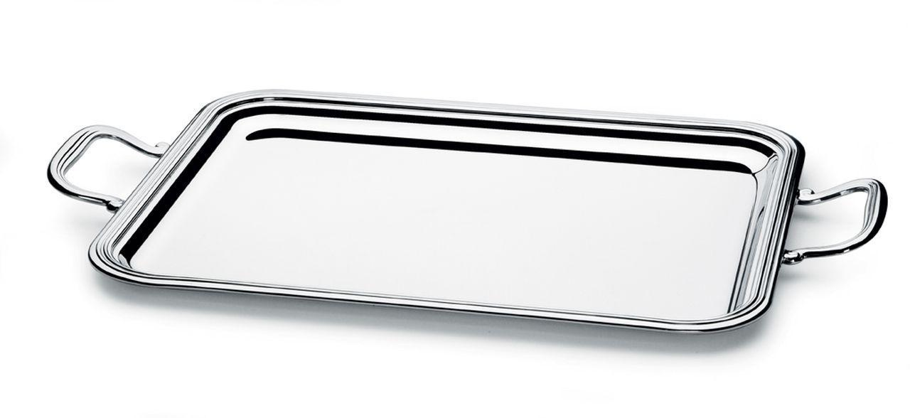 Vassoio rettangolare con manici argentato argento stile Inglese cm.40x30