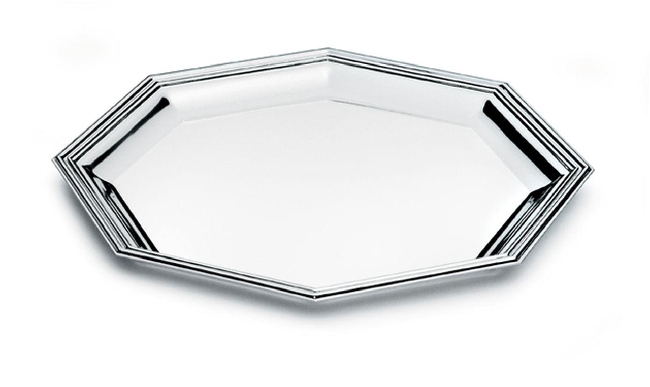 Vassoio ottagonale argentato argento in stile Inglese