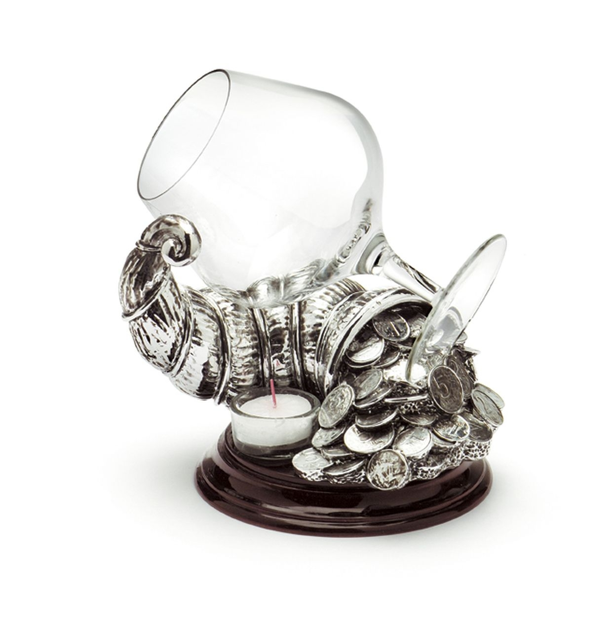 Scalda cognac CORNUCOPIA fortuna con bicchiere argentato argento cm.20h diam.15