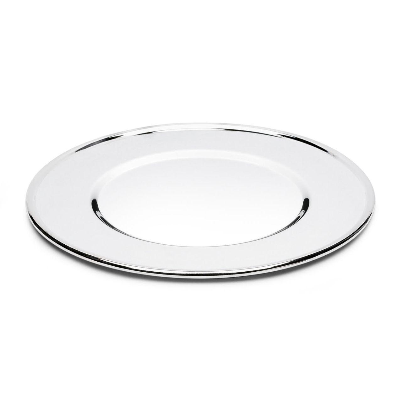 Sottopiatto liscio argentato argento 10 microns stile Cardinale cm.0,5h diam.31,5