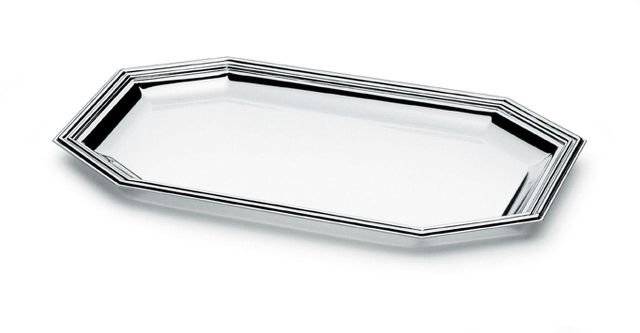 Vassoio ottagonale argentato argento stile Inglese