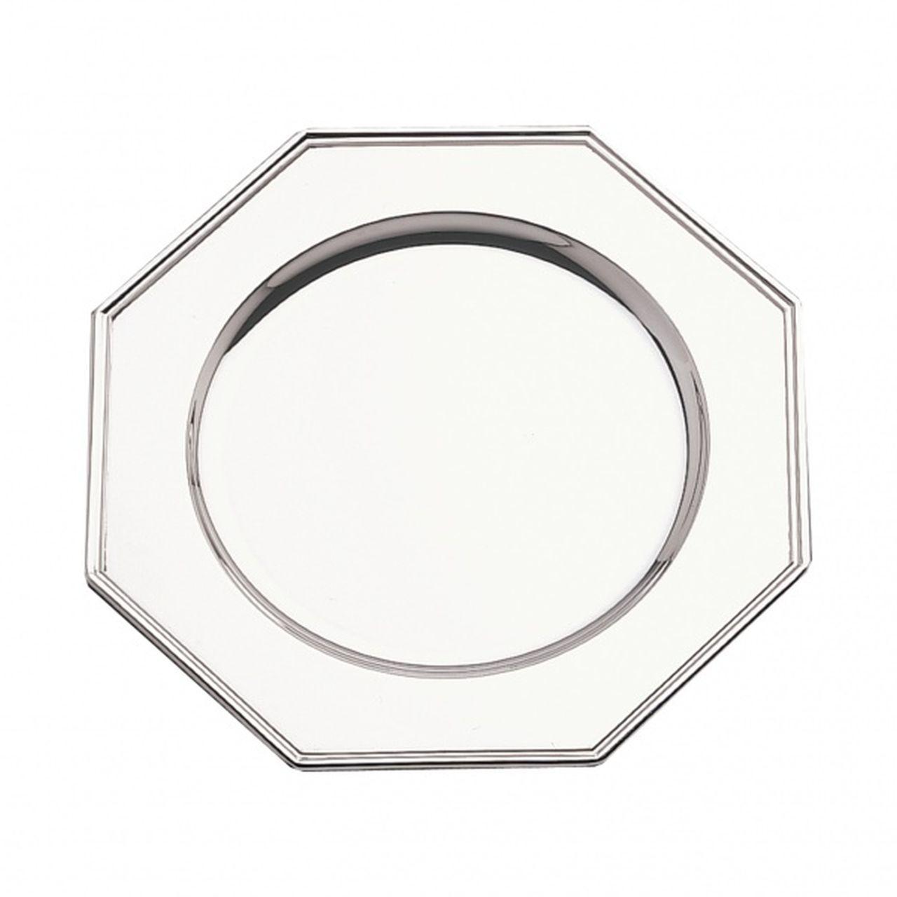 Sottopiatto argentato argento sheffield stile ottagonale cm.30x30