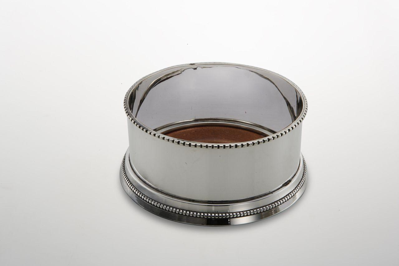 Sottobottiglia argentato argento sheffield stile perlinato