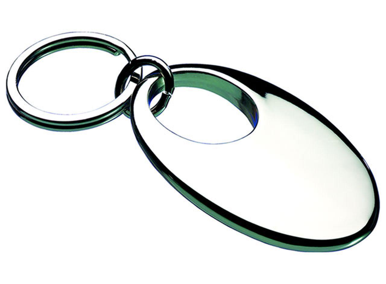 Portachiavi ovale silver plated cm.9x3,4x0,9h