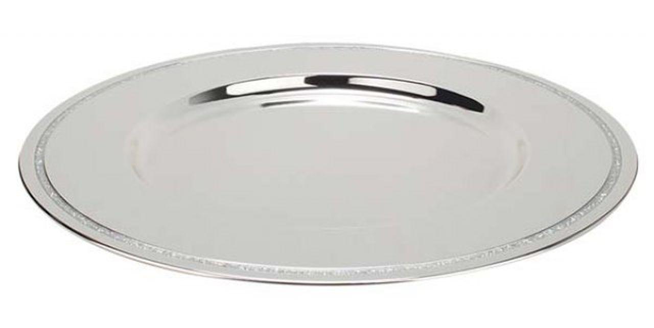 Sottopiatto argentato argento in silver plated con brillantini