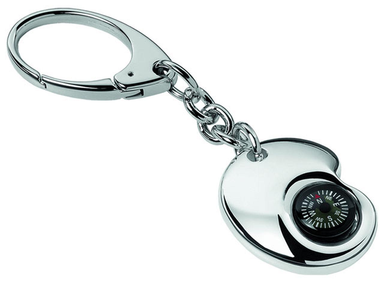 Portachiavi con bussola silver plated