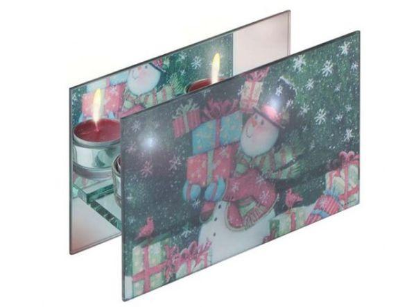 Portacandele doppio in vetro stampato cm.6,3x18,5x12h