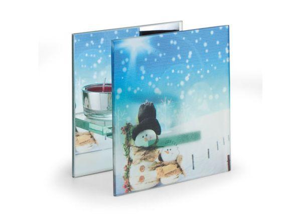 Portacandela natalizio in vetro stampato e retro in specchio azzurro pupazzo di neve cm.6,3x12x12h