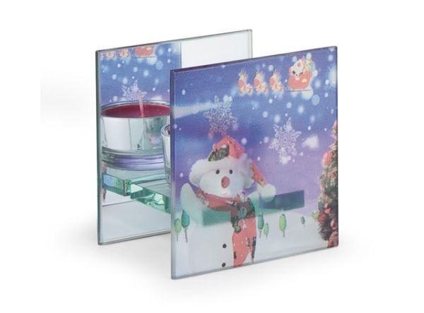 Portacandela in vetro con disegni natalizi cm.6,3x9x9h
