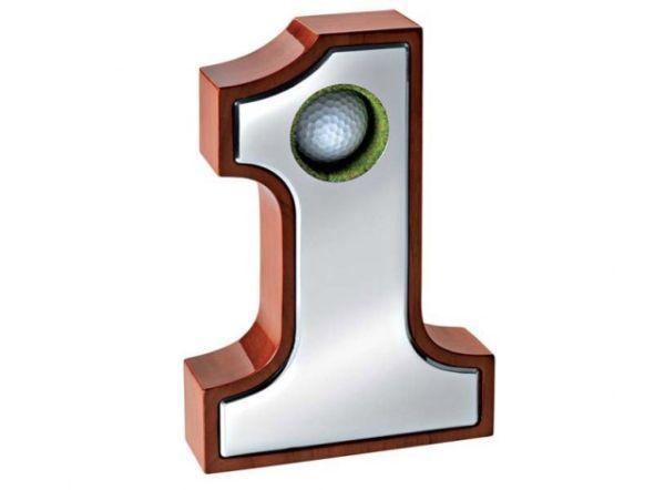 Numero 1 golf ball cromato cm.20,5x14,2x4,4h