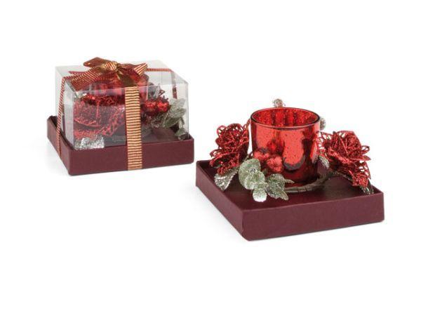Candela natalizia in vetro rosso