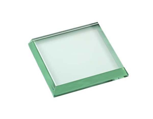 Fermacarte in vetro verde quadrato lucido cm.9x9x1,5h