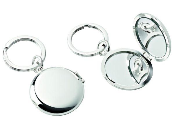 Portachiavi doppio specchietto silver plated cm.8,7x4,5x3h