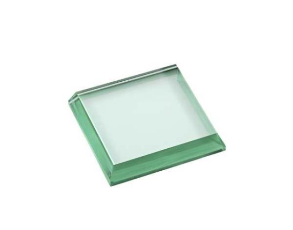 Fermacarte in vetro verde quadrato lucido cm.7x7x1,5h