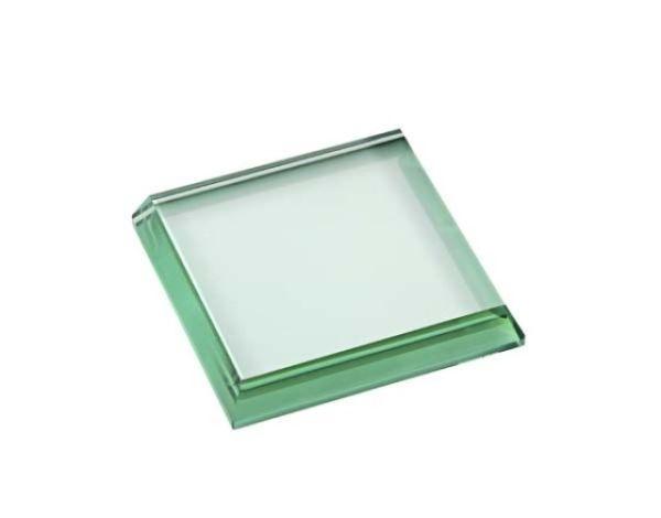 Fermacarte in vetro verde quadrato lucido cm.8x8x1,5h
