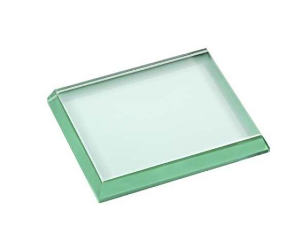 Fermacarte in vetro verde quadrato lucido cm.8,6x10,3x1,5h