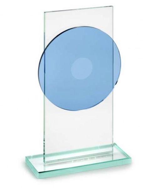 Trofeo piatto blu in vetro con piedistallo