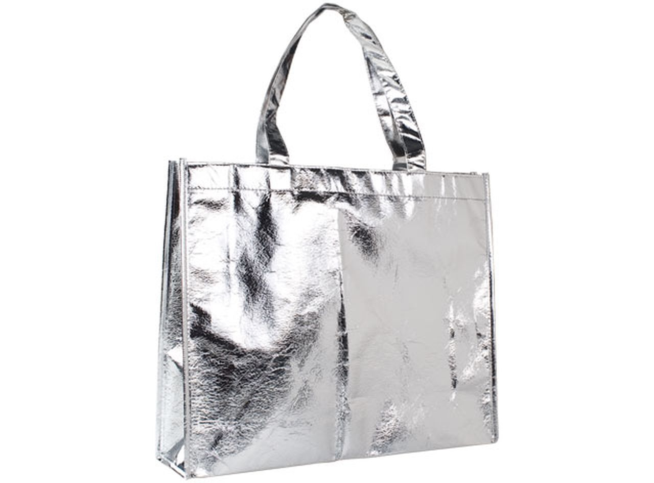 Shopping bag mirror argento cm.39x11x32h