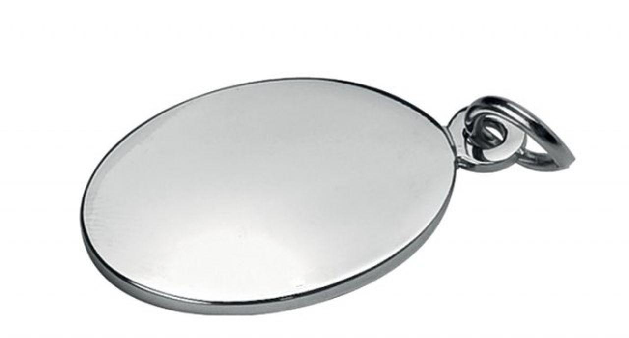 Piastrina ovale in metallo lucido cm.3,3x2,5x0,2h