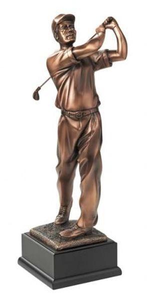 Trofeo statuetta giocatore golf con piedistallo cm.14x16x38h