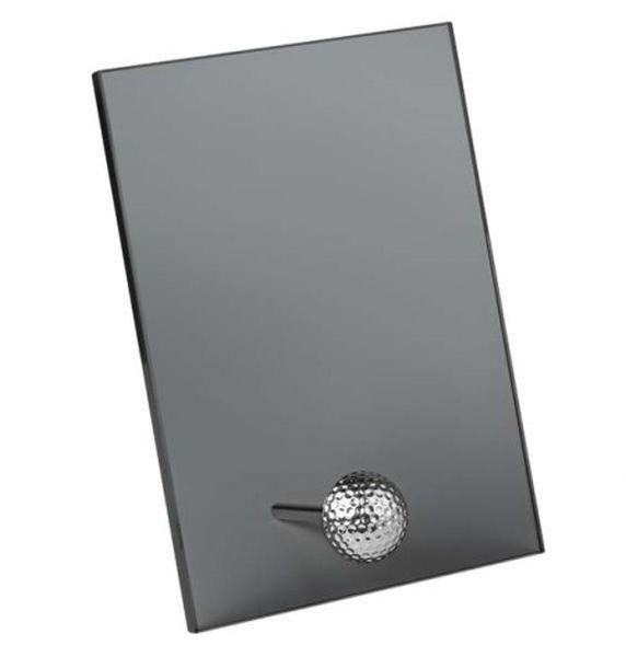 Trofeo vetro pallina golf nero fumo cm.12,5x3x19h