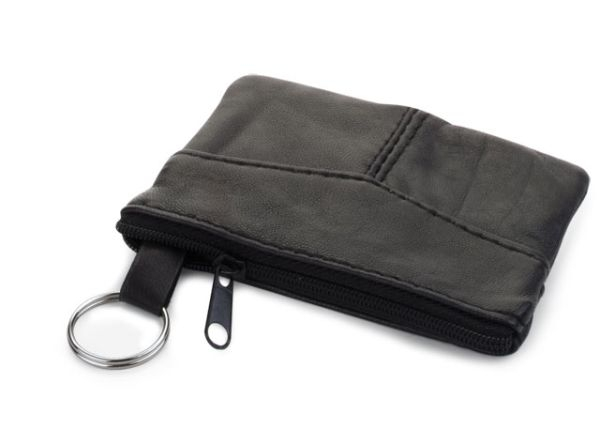 Portachiavi portamonete in pelle nera cm.11x7,7x1h
