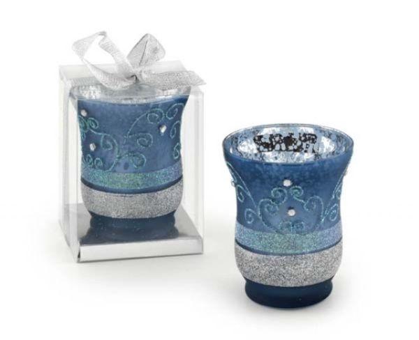 Portacandela in vetro azzurro decorato cm.9h diam.7,5