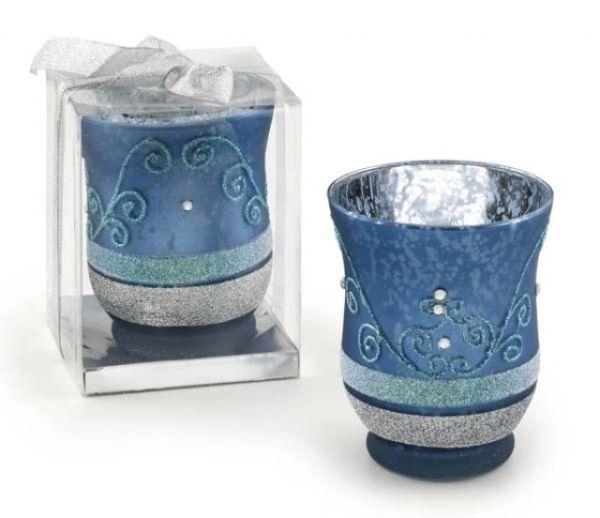 Portacandela in vetro azzurro decorato cm.10,8h diam.9