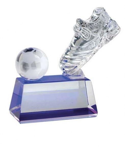 Trofeo scarpa da calcio in vetro base blu cm.3,5x9x13h