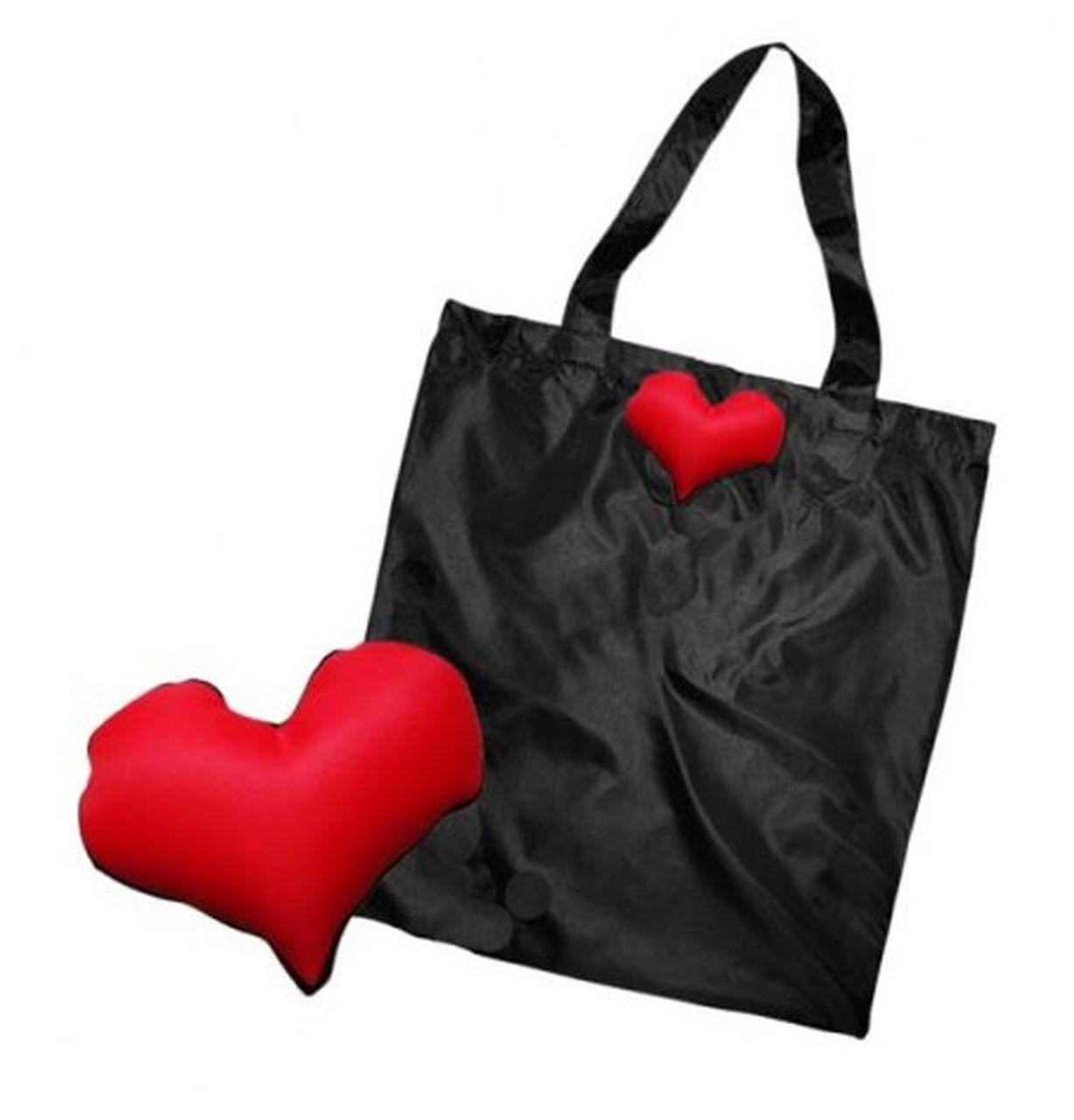 Shopper nera cuore cm.43x40x0,2h