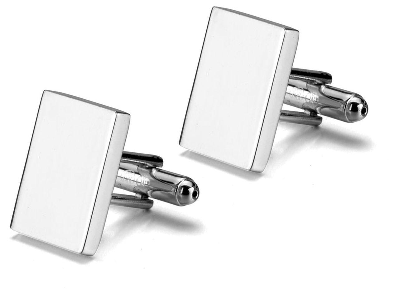 Gemelli argentati argento rettangolari in silver plated cm.1,4x1,9x2,5h