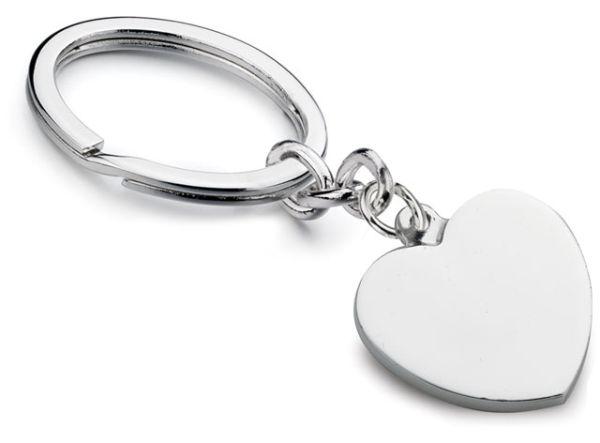 Portachiavi cuore anello ovale silver plated cm.8,6x2,7