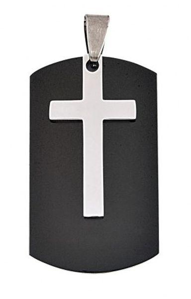 Pendente acciaio military croce cm.4x2,2x0,5h