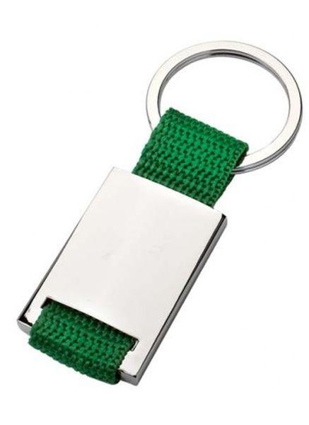 Portachiavi satinato tessuto verde cm.9x3,5x1h