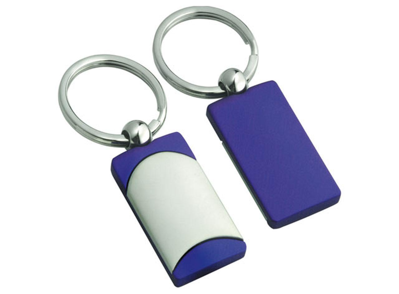 Portachiavi satinato blu cm.8x3,4x1h