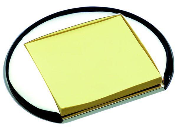 Porta post it rondo in silver plated cm.12,5x11x2h