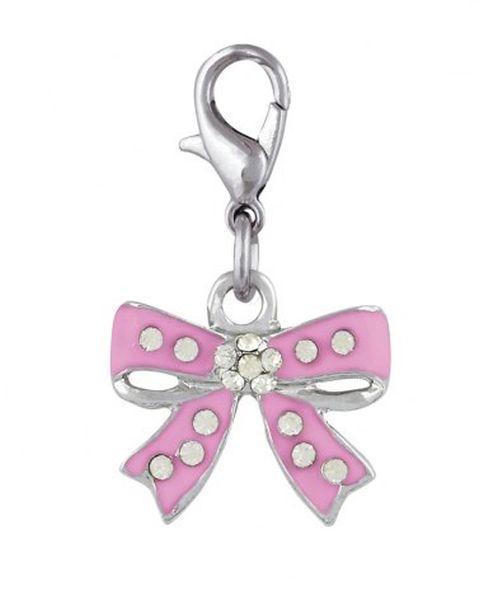 Ciondolo fiocco rosa con brillanti