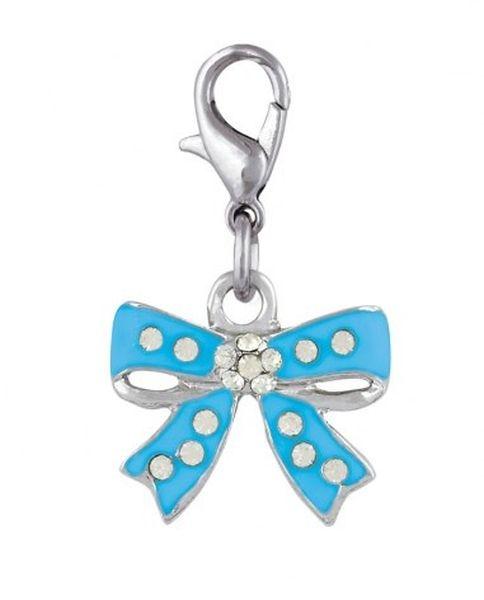 Ciondolo fiocco azzurro conn brillantini cm.3,1x1,8x0,5h