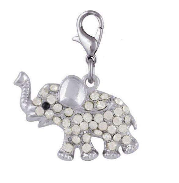 Ciondolo elefante con brillanti cm.3,4x2,5x0,5h